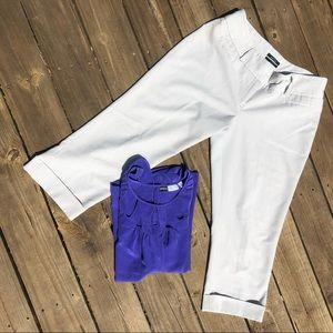 Light Gray Curvy Crop Dress Pants